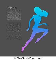 Schematic running woman silhouette - Vecto illustration of...