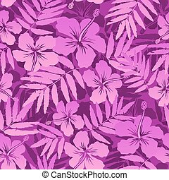 Pink vector tropical flowers seamless pattern