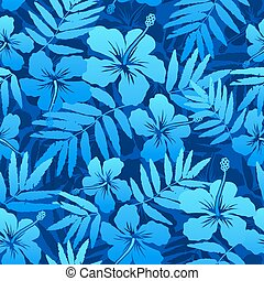 Blue tropical flowers seamless pattern - Blue and turquoise...