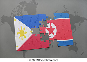 puzzle with the national flag of philippines and north korea...