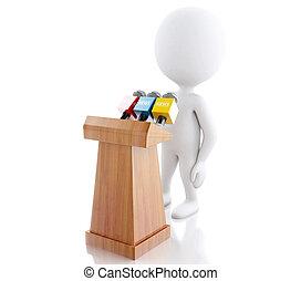 人々, 出版物, 白, 会議, 話すこと, 3D