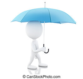 3d White people with a blue umbrella.