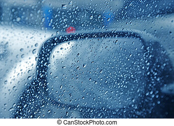 rain drop on side car window