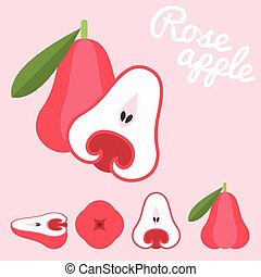 Vector rose apple, flat design