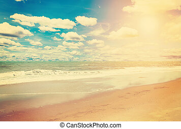 sea and beach in summer in vintage effect