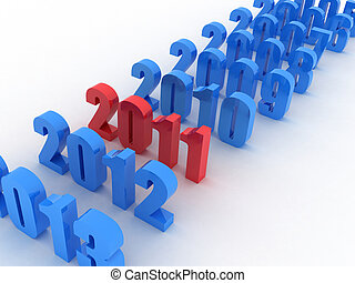 New year - Illustration of numbers of new 2011 on a white...