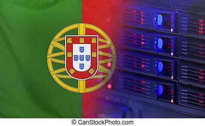 bandera, concepto, tecnología,  portugal