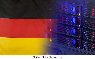 alemania, bandera, concepto, tecnología