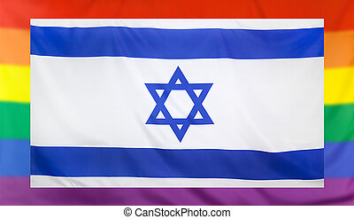 Flag of Israel and rainbow flag - LGBT movement concept with...