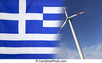 Concept Clean Energy in Greece - Concept clean energy with...
