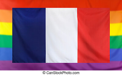Flag of France and rainbow flag - LGBT movement concept with...