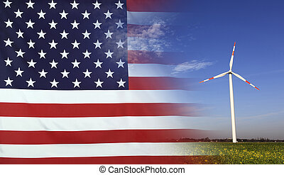 Concept Clean Energy in USA - Concept clean energy with flag...