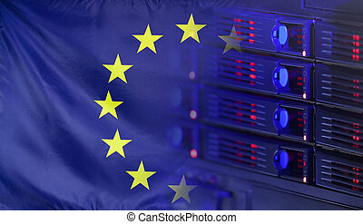Europa, bandera, concepto, tecnología