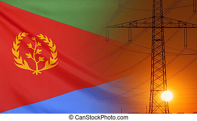 Energy Concept Eritrea Flag with sunset power pole - Concept...