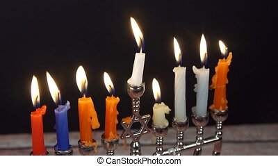 Jewish holiday hannukah symbols - menorah, - Hanukah candles...