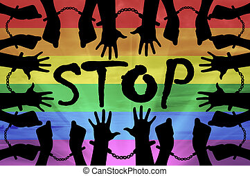 Silhouette gay hands in handcuffs - Stop discrimination...