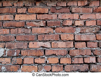 Old damaged brick wall - Rough and weathered old dirty brick...