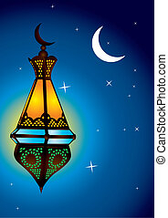 Intricate arabic lamp with moon