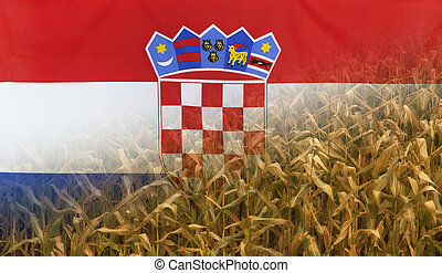 Croatia Nutrition Concept Corn field with fabric Flag -...