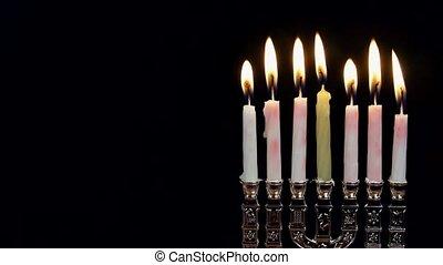 Jewish holiday hannukah symbols - menorah, - Hanukah candles...
