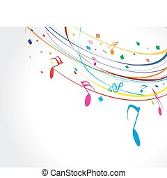 Musictheme - Musical wave line of musical notes, vector...