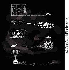Chalk Illustration of soccer game elements