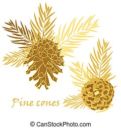 Fir tree branches with pine cone in golden color. Vector...