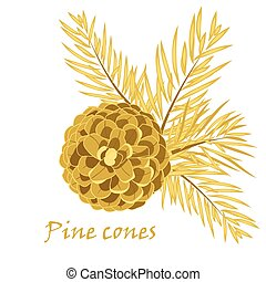 Fir tree branches with pine cone in golden color Vector...