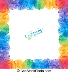 Bright rainbow colors watercolor stains frame - Bright...