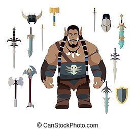 Orc Game Set - Orc with different weapons. Set of warrior...