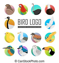 Set of Bird Logo Vector Illustration - Big set of birds...
