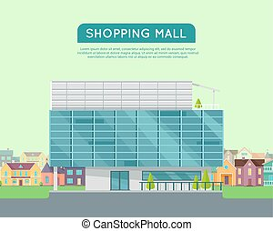Shopping Mall Web Template in Flat Design - Shopping mall...