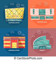 Shopping Centre Icon Set in Flat Design - Supermarket icons...