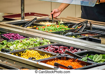 Self service salad bar in a hotel canteen