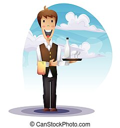 waiter cartoon with separated layers for game and animation,...