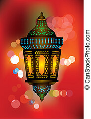 Intricate arabic lamp with beautiful lights in the...