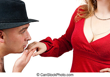 adult men kissing womens hand - men in black hat kissing a...