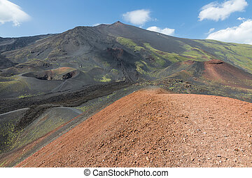 Colorful slopes of Mount Etna at Italian Island Sicily