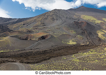 Mount Etna with craters and solidified lava flows at Sicily,...