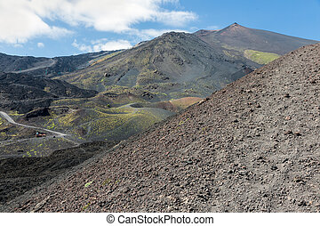 Slopes of Mount Etna covered with ashes and stones, Sicily,...