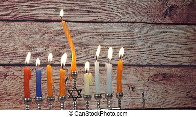 Hanukkah menorah with candles happy burning - Hanukkah...