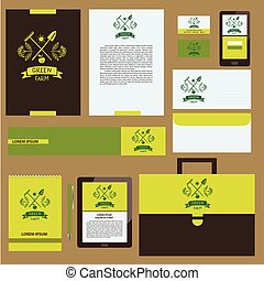 Green farm Corporate identity for agriculture, horticulture...