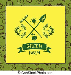 Green farm Sketch for logo agriculture, horticulture Branch...