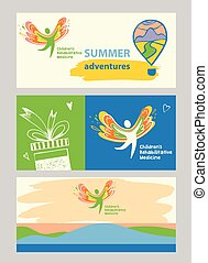 Children rehabilitation medicine. Internet banner and vector logo depicting the silhouette of a healthy, happy child.