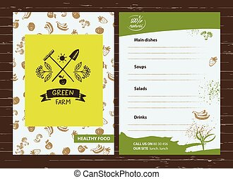 Green farm Menu for agriculture, horticulture Branch with...