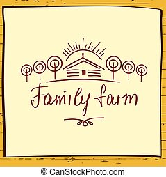 Family eco farm Sketch logo for agriculture, horticulture...