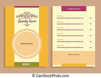 Family eco farm Menu for agriculture, horticulture Hand...