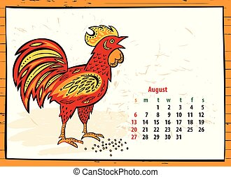 Calendar of 2017 Chinese New Year of the Rooster. Month...