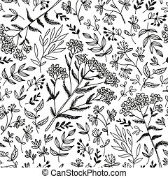 Flower seamless pattern, black on white background