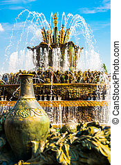 Beautiful fountain and pavilion. ENEA,VDNH,VVC. Moscow,...